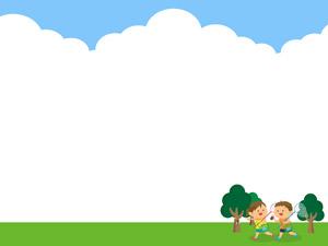 [フリーイラスト] 昆虫採集に出かける子供と入道雲の飾り枠