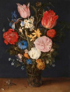 [無料絵画] ヤン・ブリューゲル(父)&ヤン・ブリューゲル(子) 「机上の花瓶に入ったチューリップと薔薇」 (1615-1620)