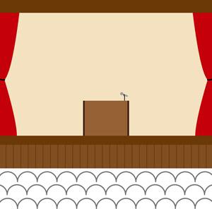 [無料イラスト] 体育館のステージ