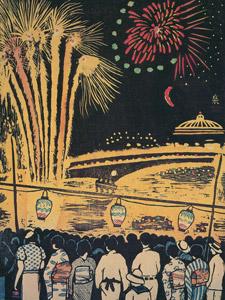 [無料絵画] 小泉癸巳男 「両国の川開き」 (1935)
